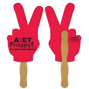 Peace Sign Hand Fan Full Color (2 Sides)
