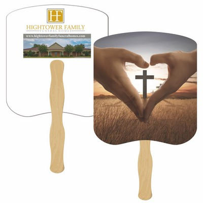 Cross Hands Hand Fan Full Color (2 Sides)